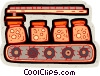 preserves on assembly line conveyor belt Vector Clip Art picture
