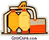 Vector Clip Art graphic  of a farm buildings