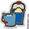buckets of sand Vector Clip Art graphic