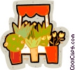 flowers at market Vector Clipart image