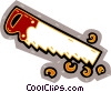 Vector Clip Art image  of a saw with wood chips