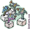 businessmen all moving on the roll of a dice Vector Clip Art graphic