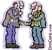 Vector Clipart graphic  of a two people greeting with a