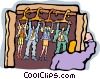 Vector Clip Art graphic  of a man opens his office closet