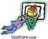 Vector Clipart graphic  of a sinking a basket
