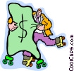 man roller blading with a bag of money Vector Clipart illustration