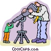 looking through telescope at man Vector Clipart picture