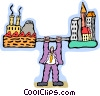 Vector Clip Art graphic  of a businessman lifting industry