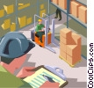 factory worker, forklift, warehouse Vector Clip Art image