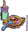 baby bottle and dish Vector Clipart image
