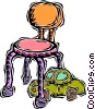 Vector Clip Art image  of a child's chair with toy
