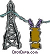 Vector Clip Art image  of a hydro tower