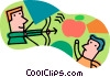 Vector Clip Art graphic  of a shooting an apple with bow and