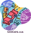 cars and trucks on a highway Vector Clipart illustration
