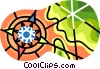 navigational symbol on contour map Vector Clipart illustration