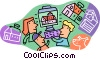 Vector Clip Art picture  of a interaction among students at computer