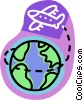 Vector Clip Art graphic  of an airplane circling the globe