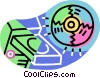 Vector Clip Art graphic  of a CD ROM disk and computer