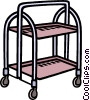 Vector Clip Art image  of a tray on wheels