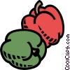 red and green pepper, vegetable Vector Clipart illustration