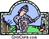 Vector Clipart graphic  of a medieval warrior