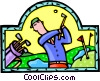 Vector Clip Art picture  of a man golfing