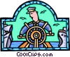 Vector Clipart graphic  of a captain steering his ship