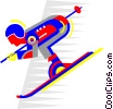 Vector Clipart picture  of a downhill skiing