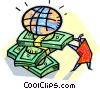 Vector Clip Art image  of a global financial markets in