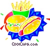 Vector Clipart graphic  of a hamburger and fries