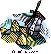 Dutch windmill Vector Clip Art graphic