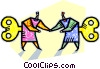 Vector Clip Art graphic  of a wind-up people greeting