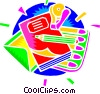 Vector Clip Art picture  of a school supplies