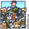 Mankind behind buried under a pile of waste Vector Clip Art image