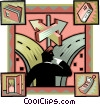man considering two paths Vector Clip Art picture