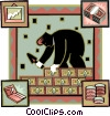 Vector Clip Art graphic  of a man building a wall of money