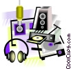 Vector Clip Art image  of a stereo equipment
