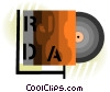 Vector Clip Art graphic  of a CD-ROM in case
