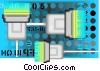 computer cables on a technology frame Vector Clipart illustration