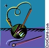 Vector Clip Art graphic  of a ball of wool