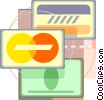 Vector Clipart picture  of a charge cards drafting design