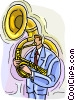 Vector Clip Art picture  of a man playing tuba