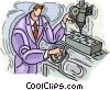 Vector Clip Art graphic  of a Man operating tool and die