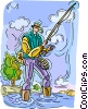 Vector Clip Art picture  of a Man fly fishing