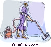 vacuuming Vector Clip Art graphic