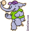 Vector Clip Art picture  of a Elephant playing baseball