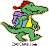Vector Clipart image  of a crocodile going to school