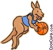Vector Clipart picture  of a kangaroo playing basketball