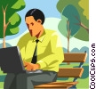 Man working with computer on a park bench Vector Clipart illustration