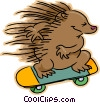 Vector Clip Art image  of a hedgehog riding a skateboard